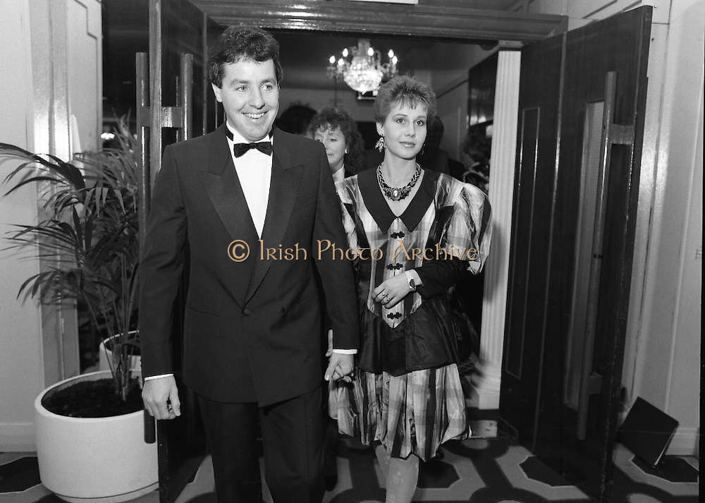 30th Texaco Sportstars of The Year.  (R71)..1988..13.01.1988..01.13.1988..13th January 1988..The Annual Texaco Sportstars awards were held in The Burlington Hotel this evening.The awards were presented by An Taoiseach, Charles Haughey TD..The list of award winners was:.Athletics.           Frank O'Meara..Cycling.             Stephen Roche..Equestrian.        Comdt gerry Mullins..Gaelic football.  Brian Stafford..Golf.                  Eamon Darcy..Horse racing.     Pat Eddery..Hurling.             Joe Cooney..Rugby.               Hugo McNeill..Snooker.            Denis Taylor..Soccer.               Liam Brady..Hall of Fame.      Danny Blanchflower.  (Soccer)...Image shows Stephen and Lydia Roche arriving at the Burlington Hotel for the awards ceremony.