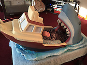 Jaws-Inspired Crib<br /> <br /> Joseph Reginella of Staten Island has built his two-month old nephew, Mikey, a bassinette inspired by the terrifying 1976 cult classic, Jaws.<br /> <br /> When in it, the bassinette traps the pre-mobile baby Mikey as a perpetual stand-in for the film's ill-fated Captain Quint, the shark hunter who succumbs to the hunted in a very grizzly version of this same scene.<br /> <br /> Joseph Reginella is a props-builder who loves Jaws. Naturally when he learned of Mikey's impending arrival, he chose this exuberant if not a little unconventional way to express his excitement.<br /> \<br /> While baby Mikey's opinion of his daybed is officially unconfirmed (one facebook commenter notes how the incline of the bassinette should help baby with gas), the rest of the family thinks it's hilarious, and is no doubt enjoying their viral success despite some expected backlash that Mikey is being traumatized.<br /> <br /> Also, Joseph Reginella recently lost his cat, Mr. Peanut, due to an incurable tumour. This is Mr. Peanut lounging in the Jaws bassinette before it was delivered. Thanks to the story going viral, Reginella finds it heartwarming to know that Mr. Peanut's cuteness was enjoyed by so many, shortly before he passed.<br /> ©Exclusivepix Media