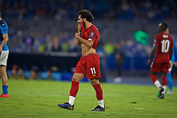 NAPLES, ITALY - Tuesday, September 17, 2019: Liverpool's Mohamed Salah looks dejected after missing a chance during the UEFA Champions League Group E match between SSC Napoli and Liverpool FC at the Studio San Paolo. (Pic by David Rawcliffe/Propaganda)
