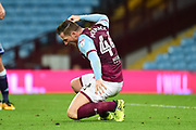 Aston Villa striker Ross McCormack (44) shows his frustration after his appeal for a penalty is turned down during the EFL Cup match between Aston Villa and Middlesbrough at Villa Park, Birmingham, England on 19 September 2017. Photo by Dennis Goodwin.