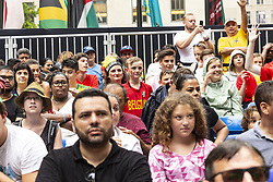 July 6, 2018 - New York, New York, United States - Young Belgium boy reacts watching 2018 FIFA World Cup Russia match between Brazil and Belgium sponsored by Telemundo Deportes at Rockefeller Center (Credit Image: © Lev Radin/Pacific Press via ZUMA Wire)