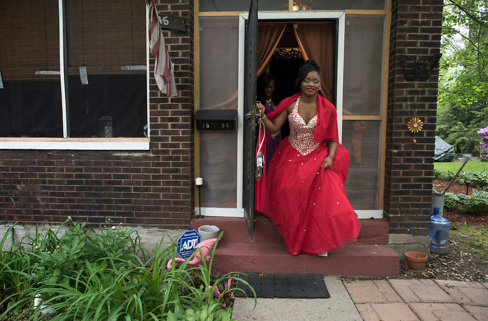 Tyneisha Wilder leaves her foster home in Wilkinsburg for East Allegheny High School's Promenade. <br /> Promenade is a high school tradition when the couples line up and are presented before an audience of family, friends and community members.