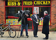 © Licensed to London News Pictures. 12/02/2013. Eastleigh, UK UKIP leader Nigel Farage is interviewed by a television crew on Market Street in Eastleigh. Campaigning in the weeks ahead of The Liberal Democrats winning the Eastleigh by-election, with the UK Independence Party pushing the Conservatives into third place.. Photo credit : Stephen Simpson/LNP