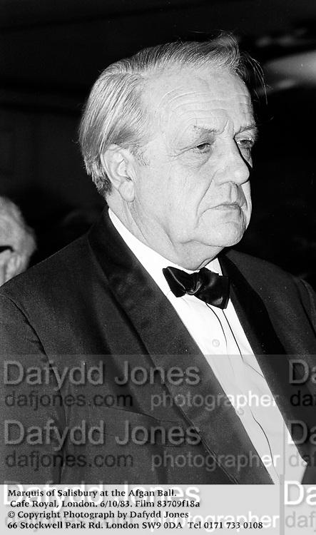 Marquis of Salisbury at the Afgan Ball. Cafe Royal, London. 6/10/83. Film 83709f18a<br />© Copyright Photograph by Dafydd Jones<br />66 Stockwell Park Rd. London SW9 0DA<br />Tel 0171 733 0108