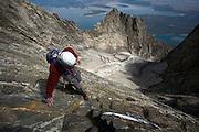 Brad Boner climbs up the CMC Route on Mt. Moran in Grand Teton National Park, Wyoming. (Photo by David Stubbs / Aurora) (release code: ds0054.jpg)Mt. Moran, Grand Teton National Park, Wyoming<br /> David Stubbs / www.davidstubbs.com