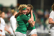 Irish players celebrate their penalty try in the second half during the Women's 6 Nations match between Ireland Women and England Women at Energia Park, Dublin, Ireland on 1 February 2019.