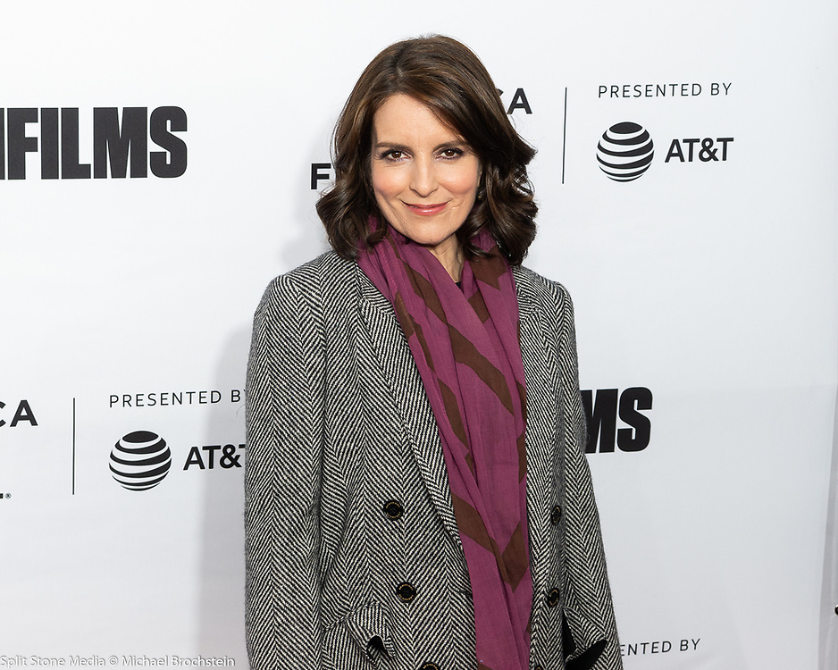"""Tina Fey at the Tribeca Film Festival red carpet arrivals for the film """"Love, Gilda"""" at the Beacon Theatre in New York City on April 18, 2018"""