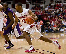 February 13, 2010; Stanford, CA, USA;  Stanford Cardinal guard Emmanuel Igbinosa (13) during the first half against the Washington Huskies at Maples Pavilion.  Washington defeated Stanford 78-61.