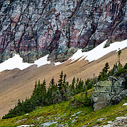 Melting snow above the timberline in Glacier National Park.