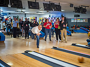 20 DECEMBER 2019 - ADEL, IOWA: US Senator CORY BOOKER (D-NJ) bowls a couple of frames after a campaign stop in the Adel Family Fun Center, a bowling alley in Adel, IA, about 20 miles west of Des Moines. Sen Booker is on a bus tour across Iowa to support his candidacy for the US Presidency. Iowa traditionally holds the first event of the presidential election cycle. The Iowa caucuses are Feb. 3, 2020.       PHOTO BY JACK KURTZ