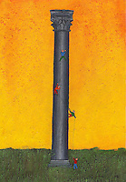 A very high stone pillar is tanding in a grassy field and figures are roped to each other trying to climb to the top.