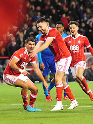 FORESTS ERIC LICHAJ CELEBRATES AFTER HEADING IN FORESTS FIRST GOAL,  Nottingham Forest v Arsenal Emirates FA Cup Third Round, City Ground Sunday 7th January 2018