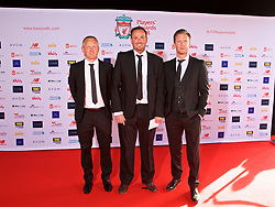 LIVERPOOL, ENGLAND - Thursday, May 10, 2018: Liverpool's Under-23 coach Neil Critchley, head of education and welfare Phil Roscoe and Academy Director Alex Inglethorpe arrive on the red carpet for the Liverpool FC Players' Awards 2018 at Anfield. (Pic by David Rawcliffe/Propaganda)