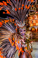 Samba dancer in the Carnaval parade of GRES Unidos do Viradouro samba school in the Sambadrome, Rio de Janeiro, Brazil.