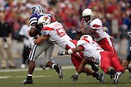 Illinois State linebacker Bill Hronec (59) brings down Kansas State running back James Johnson (8) after a short gain in the first half, at Bill Snyder Family Stadium in Manhattan, Kansas, September 2, 2006.  The Wildcats beat the Redbirds 24-23.
