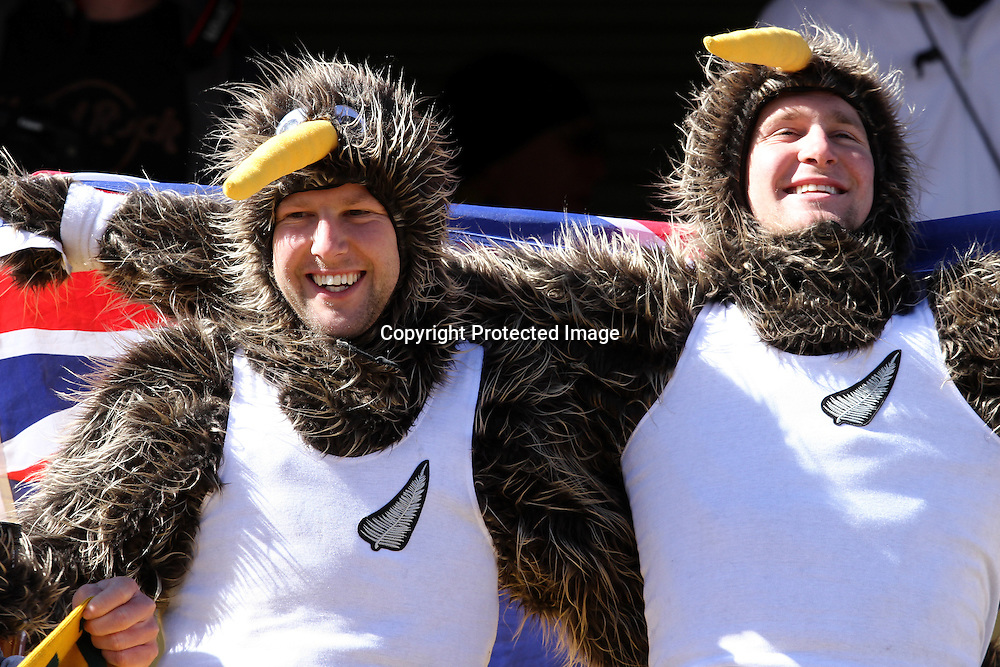 New Zealand fans celebrate during the the FIFA World Cup 2010 match between New Zealand and Slovakia at The Royal Bafokeng stadium in Rustenburg, South Africa on the 15th June 2010<br /> <br /> <br /> Photo by Ron Gaunt/Sportzpics/PHOTOSPORT