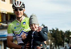KUMP Marko (SLO) of Slovenian National Team with his son during the UCI Class 1.2 professional race 4th Grand Prix Izola, on February 26, 2017 in Izola / Isola, Slovenia. Photo by Vid Ponikvar / Sportida