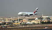 The first Emirates Airbus A380 superjumbo as it touches down in Dubai International Airport/ 29 July 2008.