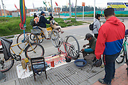 Bicycle repair station along the bikeway line in Patio Bonito - Bogota - Colombia