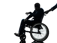 one handicapped disabled man in silhouette studio on white background