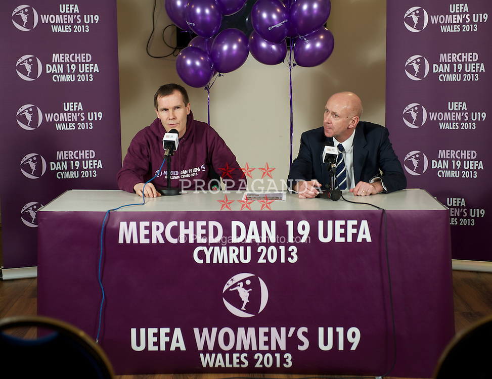 CARMARTHEN, WALES - Thursday, January 26, 2012: Wales women's manager Jarmo Matikainen and head of pubic affairs Ian Gwyn Hughes at the Football Association of Wales roadshow to promote the UEFA Women's U19 2013 tournament at Richmond Park. (Pic by David Rawcliffe/Propaganda)