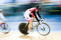London, England, 12-02-18. Zachary BELL (CAN) in the men's Omnium scratch race at the UCI World Cup, Track Cycling, Olympic Velodrome, London. Part of the London Prepares Olympic preparations.