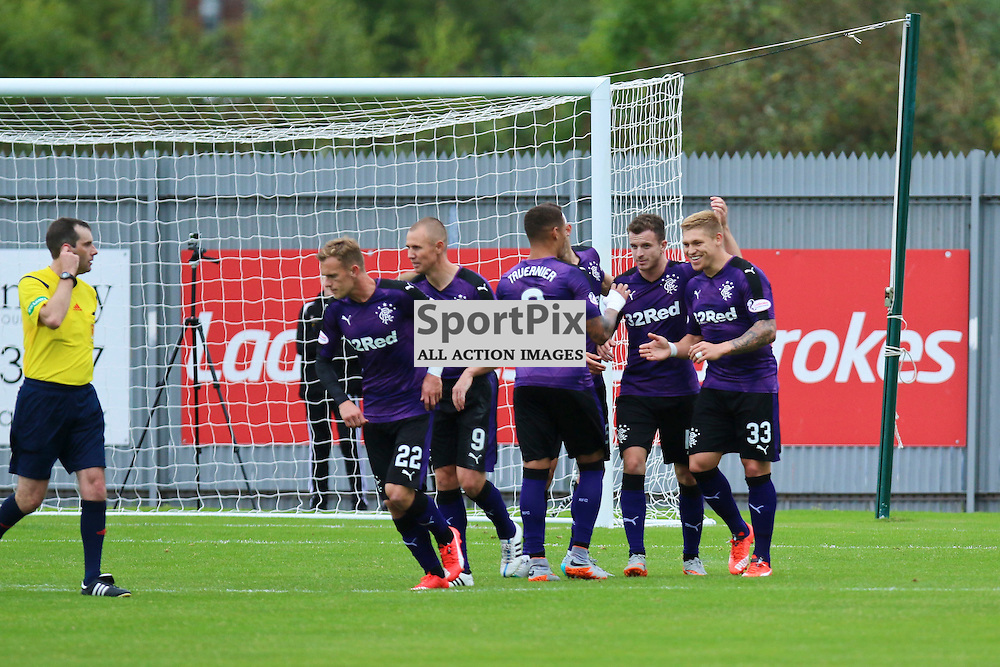 Rangers players are glad of the second goal  during the Dumbarton FC v Rangers FC Scottish Championship 19th September 2015 <br /> <br /> (c) Andy Scott | SportPix.org.uk