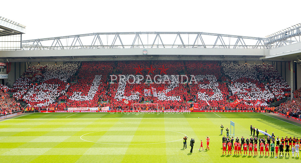LIVERPOOL, ENGLAND - Sunday, May 19, 2013: Liverpool supporters on the Spion Kop hold up a mosaic 'JC 23' and players form a guard of honour on the pitch for captain Jamie Carragher who made his 737th and final appearance for the Reds during the final Premiership match against Queens Park Rangers of the 2012/13 season at Anfield. (Pic by David Rawcliffe/Propaganda)