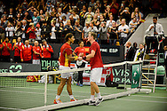 18.09.2015. Odense, Denmark. <br /> Nadal greets Mikael  Torpegaard after winning the first point for Spain.<br /> Photo: © Ricardo Ramirez.