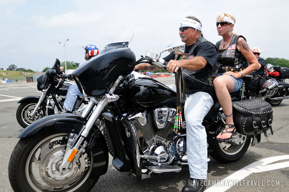 Riders participating in the annual Rolling Thunder motorcycle rally through downtown Washington DC on May 29, 2011. This shot was taken as the riders were leaving the staging area in the Pentagon's north parking lot, where thousands of bikes and riders had gathered.
