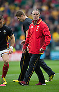 Twickenham, Great Britain, Wales attack coach, Rob HOWLEY, oversee's, the pre game training session of  the Pool A game, Australia vs Wales.  2015 Rugby World Cup,  Venue, Twickenham Stadium, Surrey, ENGLAND.  Saturday  10/10/2015.   [Mandatory Credit; Peter Spurrier/Intersport-images]