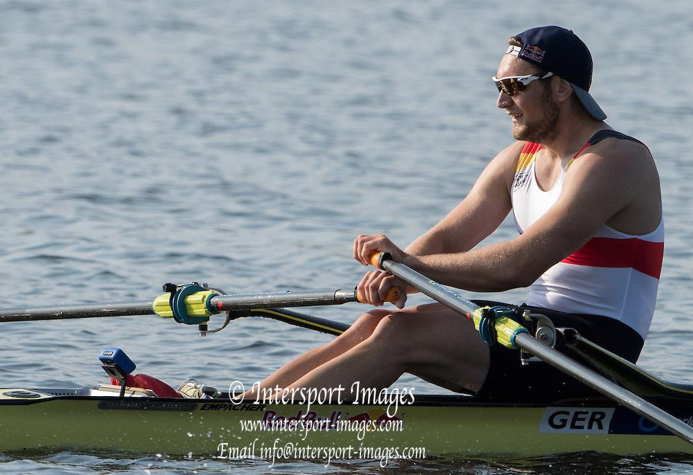 Rotterdam. Netherlands.   Gold Medalist GER BM1X. Tim Ole  NASKE, 2016 JWRC, U23 and Non Olympic Regatta. {WRCH2016}  at the Willem-Alexander Baan.   Friday  26/08/2016 <br /> <br /> [Mandatory Credit; Peter SPURRIER/Intersport Images]