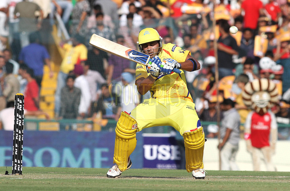 Murali Vijay of the Chennai Super Kings attempts to duck under a bouncer during match 9 of the Indian Premier League ( IPL ) Season 4 between the Kings XI Punjab and the Chennai Super Kings held at the PCA stadium in Mohali, Chandigarh, India on the 13th April 2011..Photo by Shaun Roy/BCCI/SPORTZPICS
