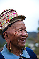 The old Kelabit man wears the traditional headware and still sports the long ears which are characteristic of this tribe.
