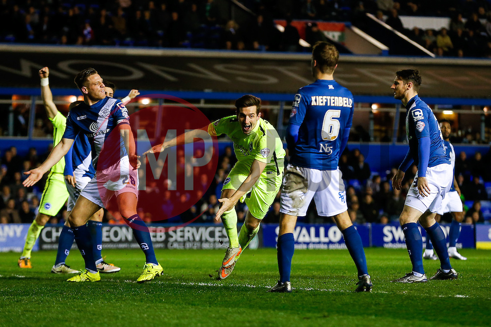 Lewis Dunk of Brighton celebrates scoring a goal to make it 1-2 - Mandatory byline: Rogan Thomson/JMP - 05/04/2016 - FOOTBALL - St Andrew's Stadium - Birmingham, England - Birmingham City v Brighton & Hove Albion - Sky Bet Championship.