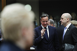 61176063<br /> British Prime Minister David Cameron (C) talks with Swedish Prime Minister Fredirk Reinfeldt (R) as Lithuanian President Dalia Grybauskaite stands at the other side of the meeting hall prior to the European Union (EU) extraordinary summit in Brussels, capital of Belgium, March 6, 2014. European Union (EU) leaders will discuss situation in Ukraine during the extraordinary summit, Thursday, 6th March 2014. Picture by  imago / i-Images<br /> UK ONLY