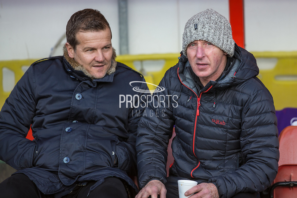 Forest Green Rovers manager, Mark Cooper chats with former Wales and Manchester United player Micky Thomas before the match during the Vanarama National League match between Wrexham FC and Forest Green Rovers at the Racecourse Ground, Wrexham, United Kingdom on 26 November 2016. Photo by Shane Healey.