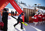 PYEONGCHANG-GUN, SOUTH KOREA - FEBRUARY 17: Emma Dahlstrom of Sweden leaves the finishing area during the Womens Slopestyle Freestyle Skiing on day eight of the PyeongChang 2018 Winter Olympic Games at Phoenix Snow Park on February 17, 2018 in Pyeongchang-gun, South Korea. Photo by Nils Petter Nilsson/Ombrello               ***BETALBILD***