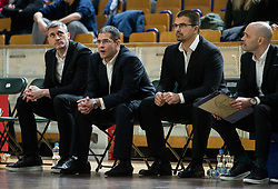 Aleksandar Saso Nikitovic, coach of Petrol Olimpija with his assistant coaches during basketball match between KK Ilirija and KK Petrol Olimpija in Round #8 of Liga Nova KBM 2018/19, on December 4, 2018 in Arena Tivoli, Ljubljana, Slovenia. Photo by Vid Ponikvar / Sportida