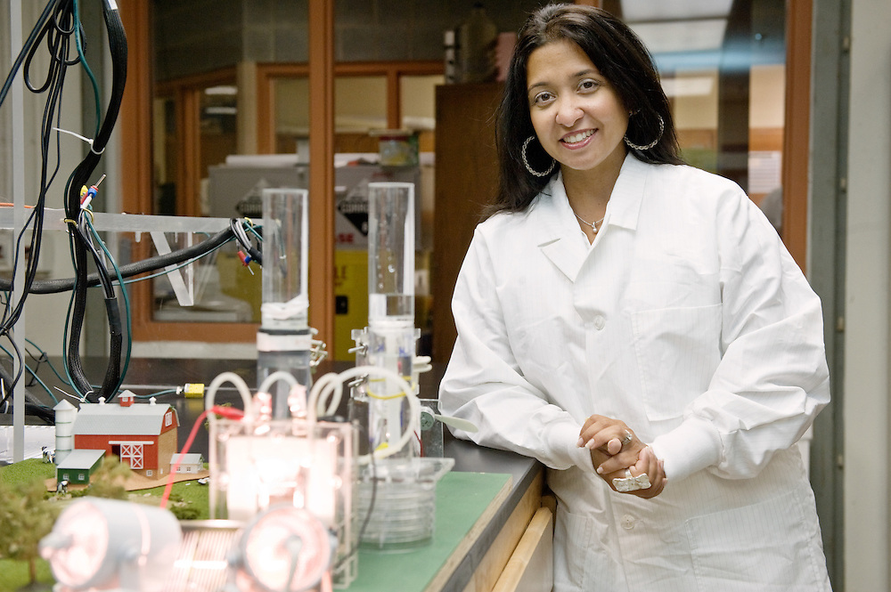 Dr. Gerardine Botte poses for a portrait in her lab Wednesday, July 22, 2009 at the Stocker Center at Ohio University.