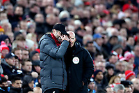 Football - 2019 / 2020 Premier League - Liverpool vs. Manchester City<br /> <br /> Reaction from Liverpool Manager Jurgen Klopp as he speaks with fourth official Mike Dean, at Anfield.<br /> <br /> COLORSPORT/PAUL GREENWOOD