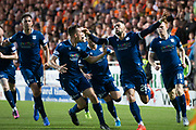 30th August 2019; Dens Park, Dundee, Scotland; Scottish Championship, Dundee Football Club versus Dundee United; Kane Hemmings of Dundee celebrates after scoring for 1-1 in the 22nd minute