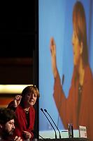 15 OCT 2003, BERLIN/GERMANY:<br /> Angela Merkel, CDU Bundesvorsitzende, waehrend ihrer Rede, CDU Regionalkonferenz zur Diskussion der  Ergebnisse der Herzog-Kommission, Hotel Estrell<br /> IMAGE: 20031015-04-006<br /> KEYWORDS: speech