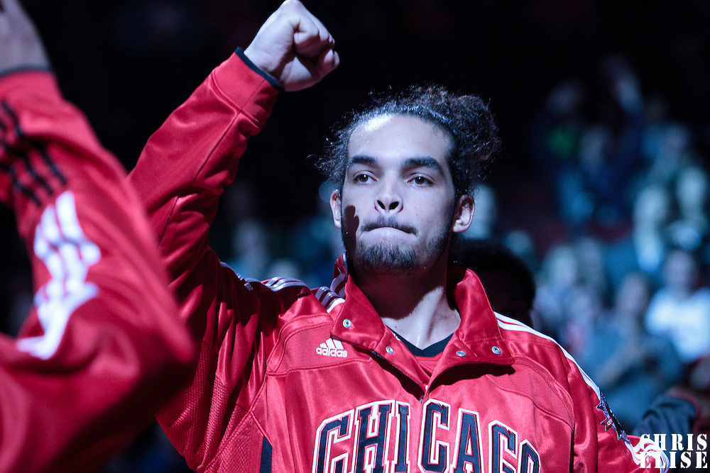 13 November 2010:  Chicago Bulls' center #13 Joakim Noah is seen during the players introduction prior to the Chicago Bulls 103-96 victory over the Washington Wizards at the United Center, in Chicago, Illinois, USA.