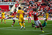 Olayinka Fredrick Oladotun Ladapo of Rotherham United effort on goal during the EFL Sky Bet League 1 match between Rotherham United and Bolton Wanderers at the AESSEAL New York Stadium, Rotherham, England on 14 September 2019.