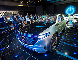 New Mercedes EQ brand  electric vehicle at world premiere at Paris Motor Show 2016