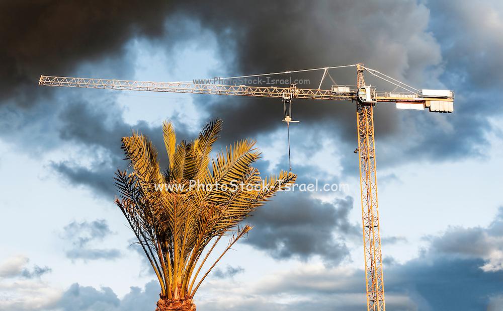 Construction site crane with storm clouds