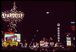 Las Vegas Strip at night, The Stardust Hotel & Casino. July 1973