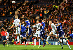 Eric Dier of England U21 climbs to win a header - Mandatory byline: Matt McNulty/JMP - 07966386802 - 03/09/2015 - FOOTBALL - Deepdale Stadium -Preston,England - England U21 v USA U23 - U21 International