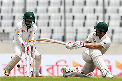 August 30, 2017 - Mirpur, Bangladesh - Australia's Matthew Wade plays a shot during the third day of 1st test match between Bangladesh against Australia in Mirpur, Dhaka, Bangladesh on August 30. (Credit Image: © Ahmed Salahuddin/NurPhoto via ZUMA Press)